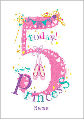 Year Old Birthday Card 5 Today Princess NO Preview Image Is Not Found