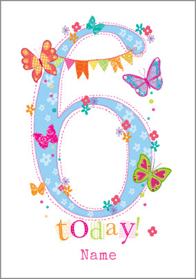 Year Old Birthday Card Butterfly Garden 6 Today NO Preview Image Is Not Found