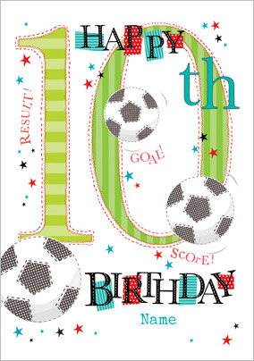 Abacus - Ten Year Old Birthday Card Soccer Birthday 10 Today