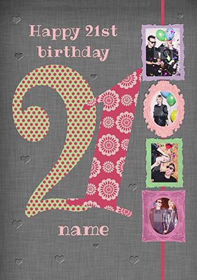 Big Numbers - 21st Birthday Card Female Multi Photo Upload