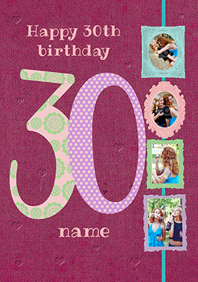 Big Numbers - 30th Birthday Card Female Multi Photo Upload
