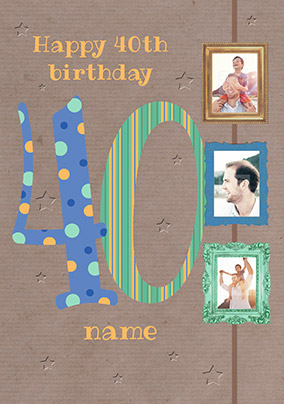 Big Numbers - 40th Birthday Card Male Multi Photo Upload