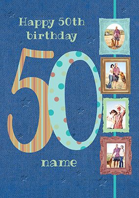 Big Numbers - 50th Birthday Card Male Multi Photo Upload
