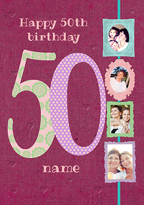 Big Numbers - 50th Birthday Card Female Multi Photo Upload
