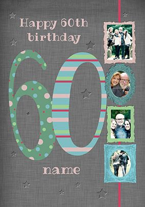 Big Numbers - 60th Birthday Card Male Multi Photo Upload