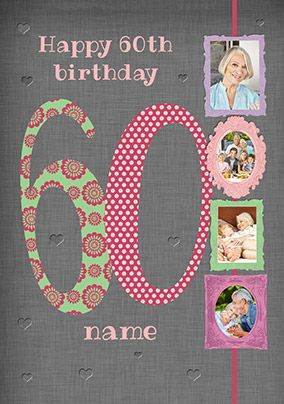 Big Numbers - 60th Birthday Card Female Multi Photo Upload