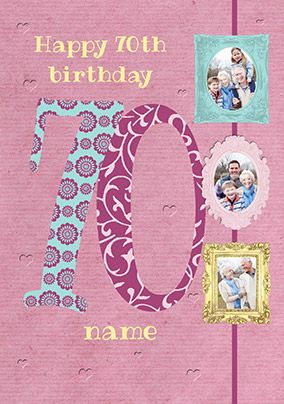 Big Numbers - 70th Birthday Card Female Multi Photo Upload
