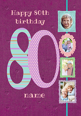 Big Numbers - 80th Birthday Card Female Multi Photo Upload