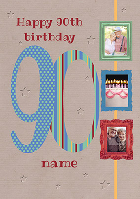 Big Numbers - 90th Birthday Card Male Multi Photo Upload