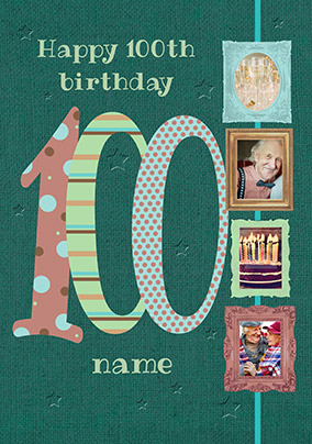 Big Numbers - 100th Birthday Card Male Multi Photo Upload