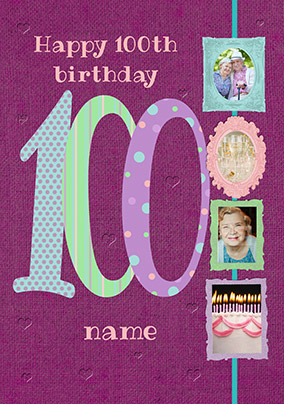 Big Numbers - 100th Birthday Card Female Multi Photo Upload