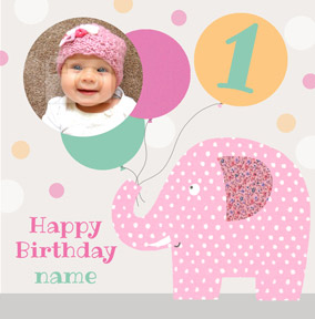 It's a Kid Thing - Birthday Card Photo Upload Girl Elephant