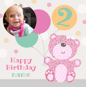 It's a Kid Thing - Birthday Card Photo Upload Girl Teddy Bear