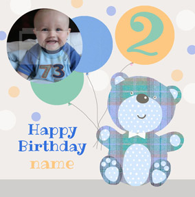 It's a Kid Thing - Birthday Card Photo Upload Boy Teddy Bear
