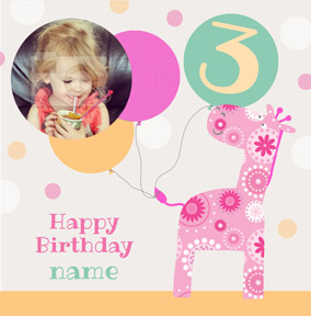 It's a Kid Thing - Birthday Card Photo Upload Girl 3 Today