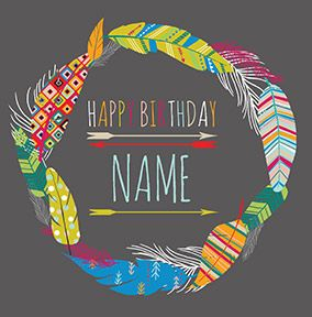 Birthday Feathers Wreath Card