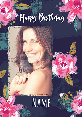 Happy Birthday Floral Photo Card