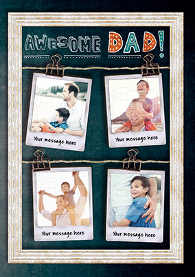 Awesome Dad Multi Photo Birthday Card
