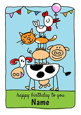 Babette Personalised Animals Card