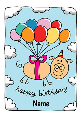 Babette Pig & Balloons Personalised Card
