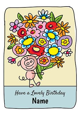 Babette Pig & Flowers Personalised Card