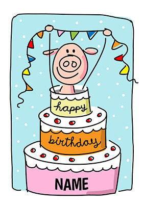 Babette Pig In Cake Personalised Card