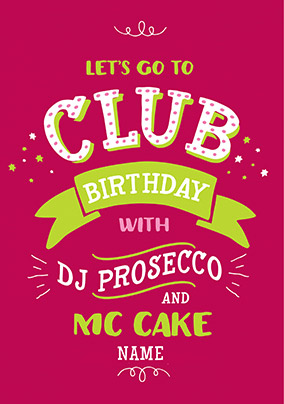 DJ Prosecco Birthday Card