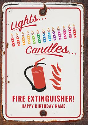 Fire Extinguisher Birthday Card