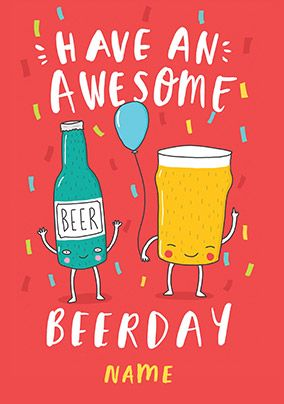 Awesome Beerday Birthday Card