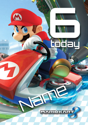 Mario Kart- Birthday Card You're 6 Today