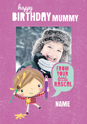 Doodle Pops - Mummy Birthday Card From Your Little Rascal