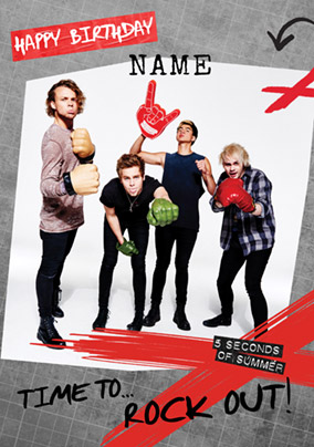 5SOS Birthday Card - Time to Rock Out!