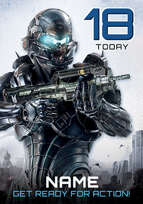 Halo 18th Birthday Card - Get Ready for Action!