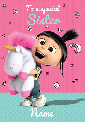 Despicable Me Special Sister Personalised Birthday Card