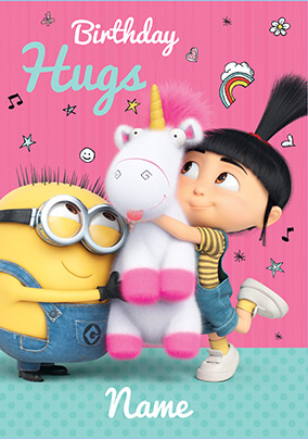 Despicable Me Birthday Hugs Personalised Card