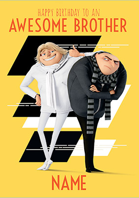 Despicable Me Awesome Brother Personalised Card