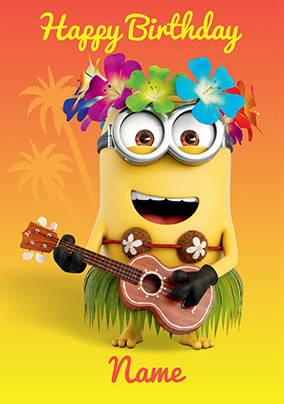 Despicable Me Hula Personalised Birthday Card
