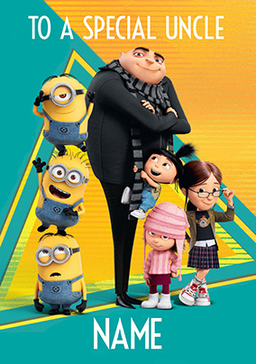 Despicable Me Special Uncle Personalised Birthday Card