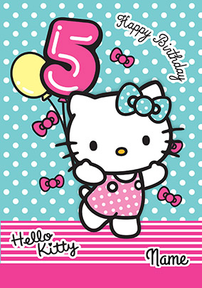 Hello Kitty 5 Today Birthday Card