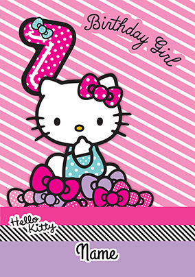 Hello Kitty 7 Today Birthday Card
