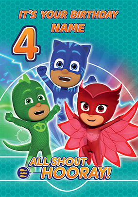 Pj Masks Age 4 Personalised Birthday Card