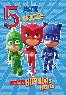 Pj Masks Age 5 Personalised Birthday Card