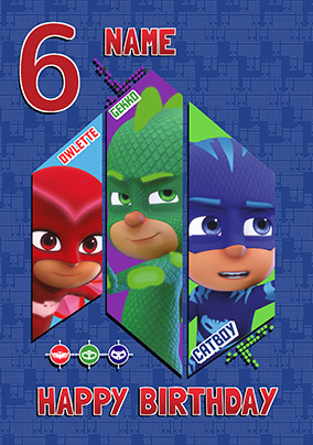 Pj Masks Age 6 Personalised Birthday Card
