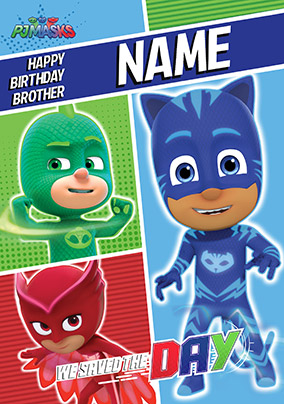 Pj Masks Brother Personalised Birthday Card