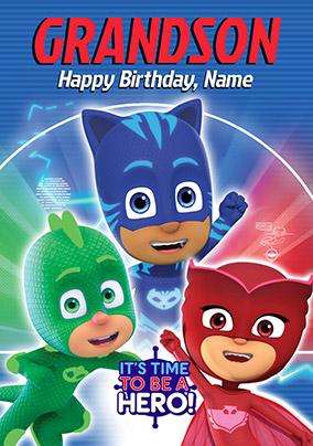 Pj Masks Grandson Personalised Birthday Card