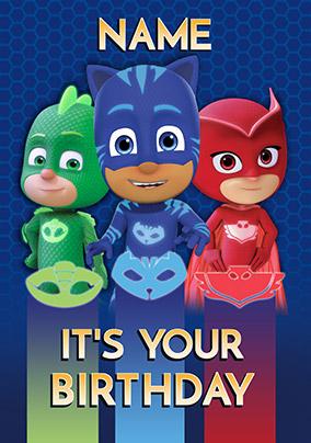 Pj Masks Personalised Birthday Card