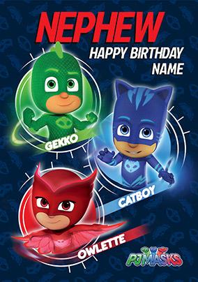 Pj Masks Nephew Personalised Birthday Card