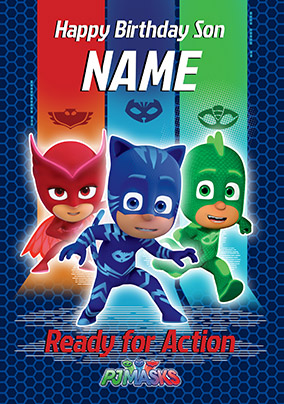 Pj Masks Son Personalised Birthday Card