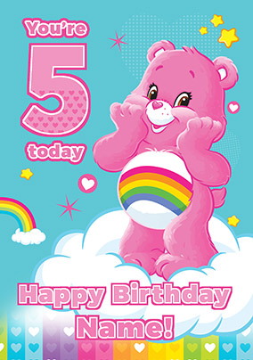 5 today care bear personalised birthday card - Personalised Birthday Cards