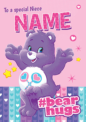 Special Niece Care Bears Personalised Birthday Card NO Preview Image Is Not Found